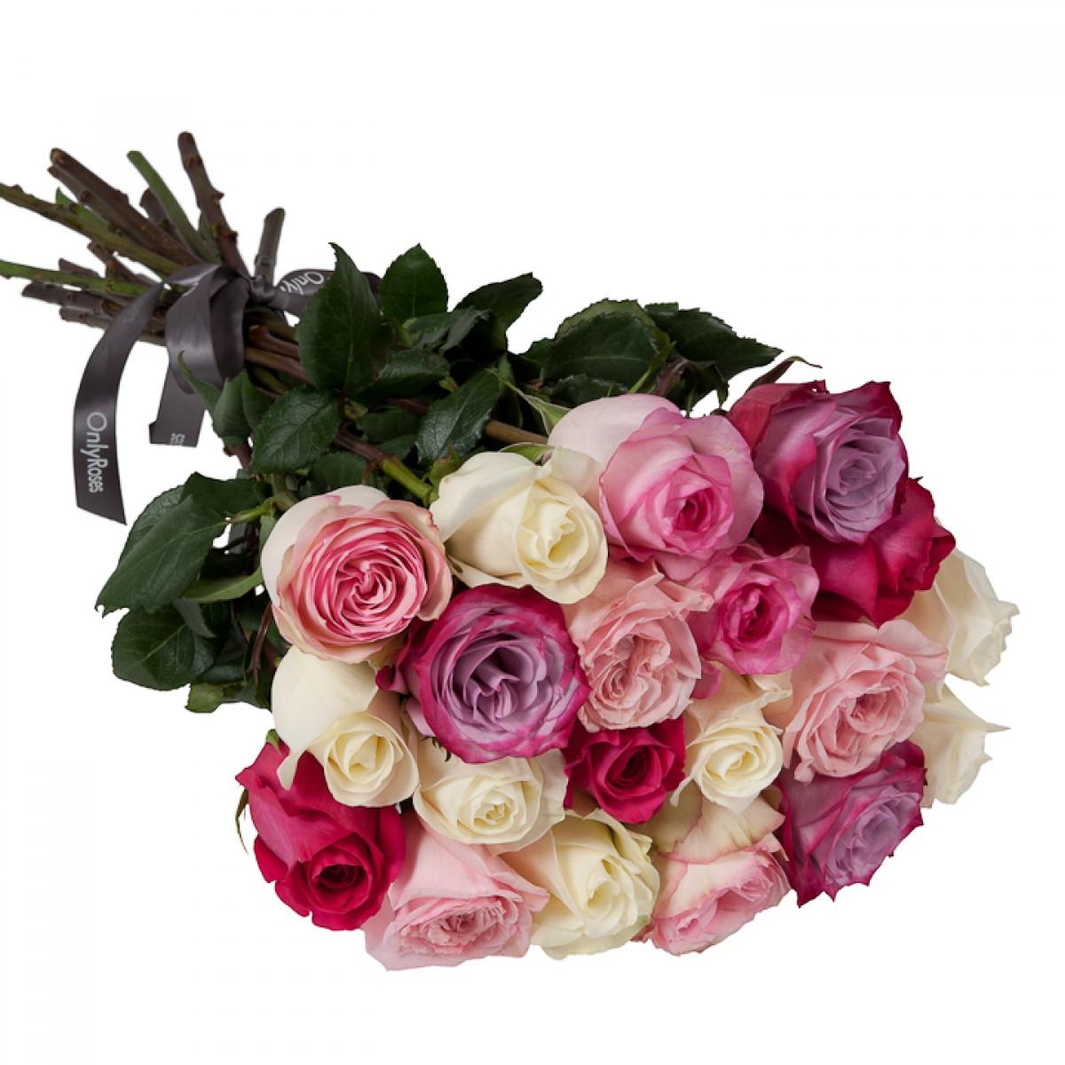 Букет от 15 до 25 рози в бяло/розова гама (ти избираш броя)