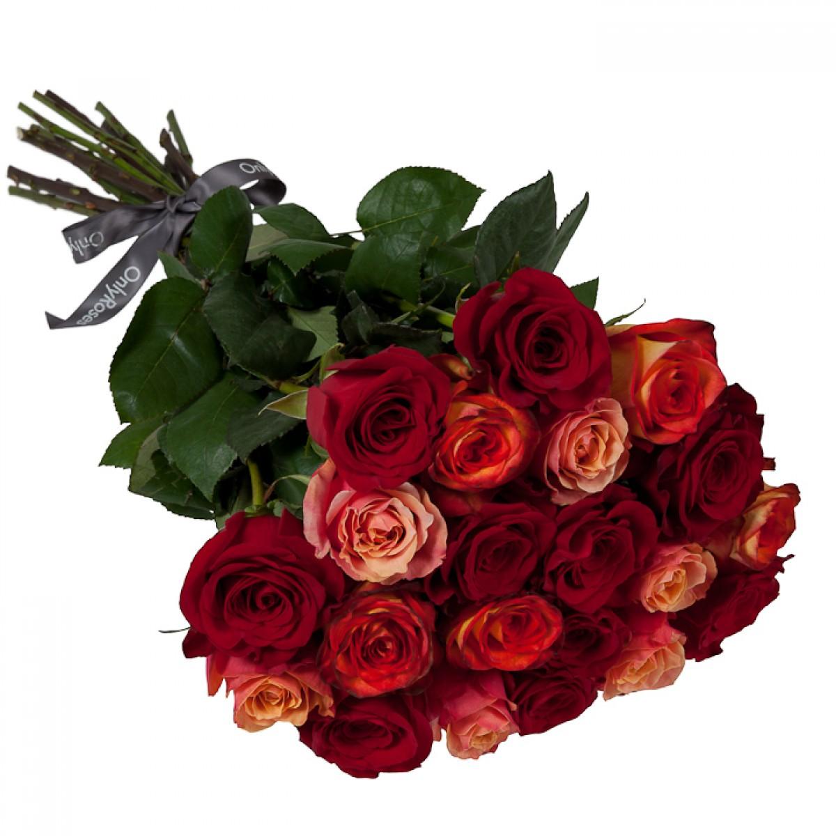 Букет от 15 до 25 рози червено/оранжев микс (ти избираш броя)