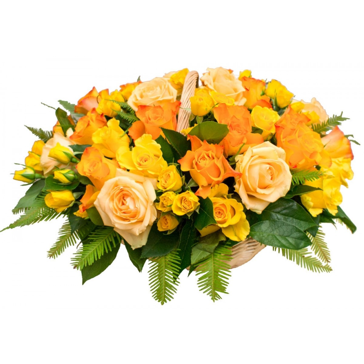 Кошница от 35 рози в оранжево/жълта гама