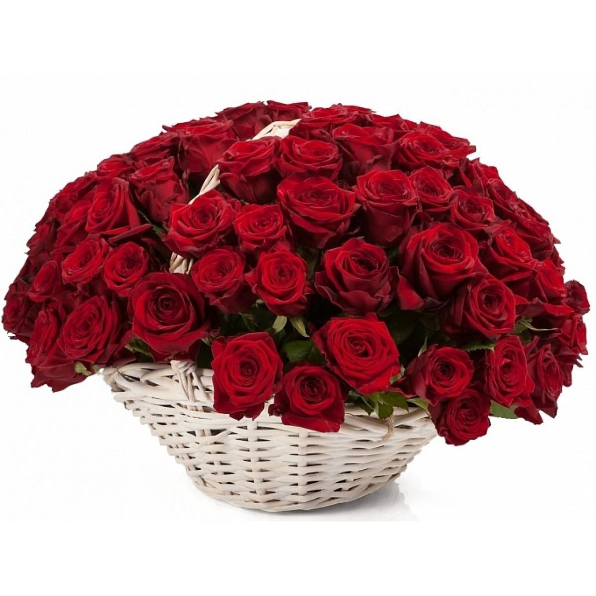 101 червени роз в бяла ратанова кошница